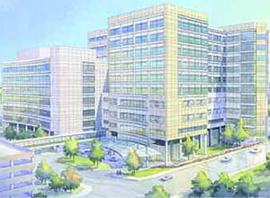 An illustration from HKS Architects shows the new 1.1-million-square-foot C.S. Mott Children's and Women's Hospitals