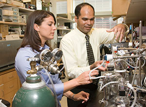 """Ravi Birla with Louise Hecker, a graduate student in the Section of Cardiac Surgery. Birla and Hecker are senior author and lead author, respectively, on the paper, """"Engineering the heart piece by piece: state of the art in cardiac tissue engineering,"""" published in the March 2007 issue of Regenerative Medicine."""