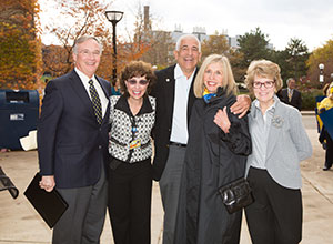 U-M Medical School Dean James Woolliscroft, U-M Executive Vice President for Medical Affairs and CEO of the U-M Health System Ora Pescovitz, Rich and Susan Rogel, and U-M President Mary Sue Coleman