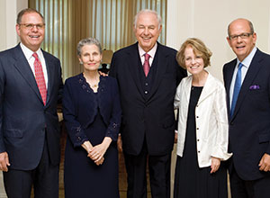 William Taubman; Gayle Taubman Kalisman; Alfred Taubman; Mary Sue Coleman, president emerita U-M; and Robert Taubman