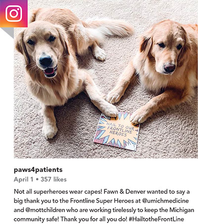 Post from paws4patients on April 1 (357 likes). Not all superheroes wear capes! Fawn & Denver wanted to say a big thank you to the Frontline Super Heroes at @umichmedicine and @mottchildren who are working tirelessly to keep the Michigan community safe! Thank you for all you do! #HailtotheFrontLine