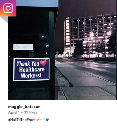Instagram post from maggie_bateson on April 1 (31 likes). #HailToTheFrontline (yellow heart, blue heart)