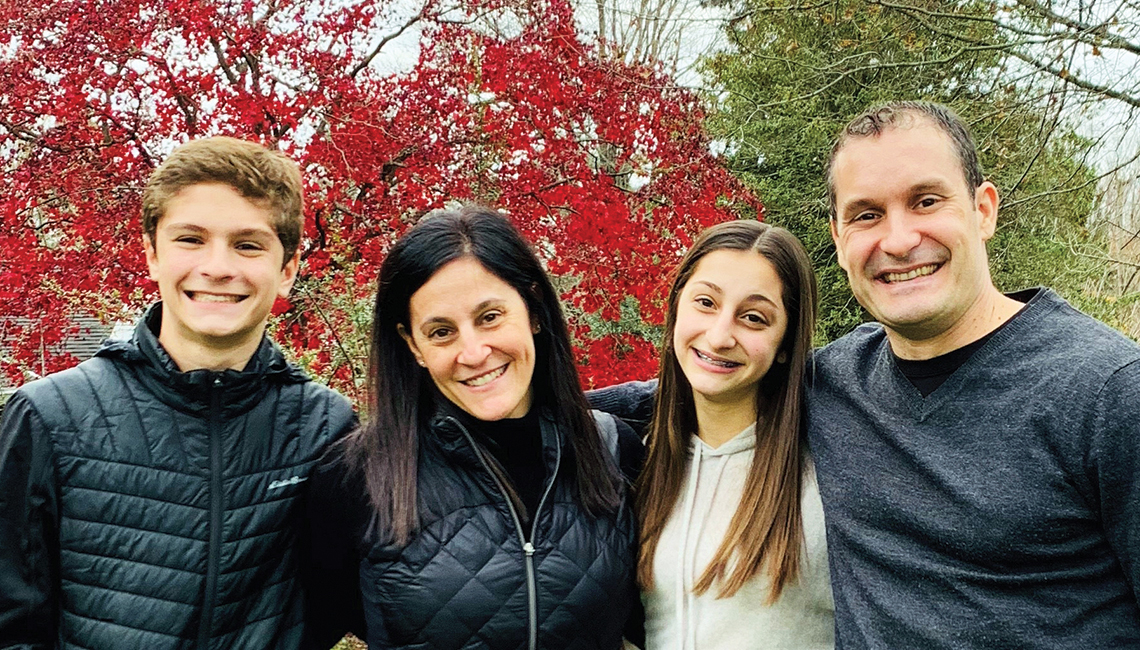Deborah Berman, pictured here, second from left, with her two children and husband, Rich Dopp.