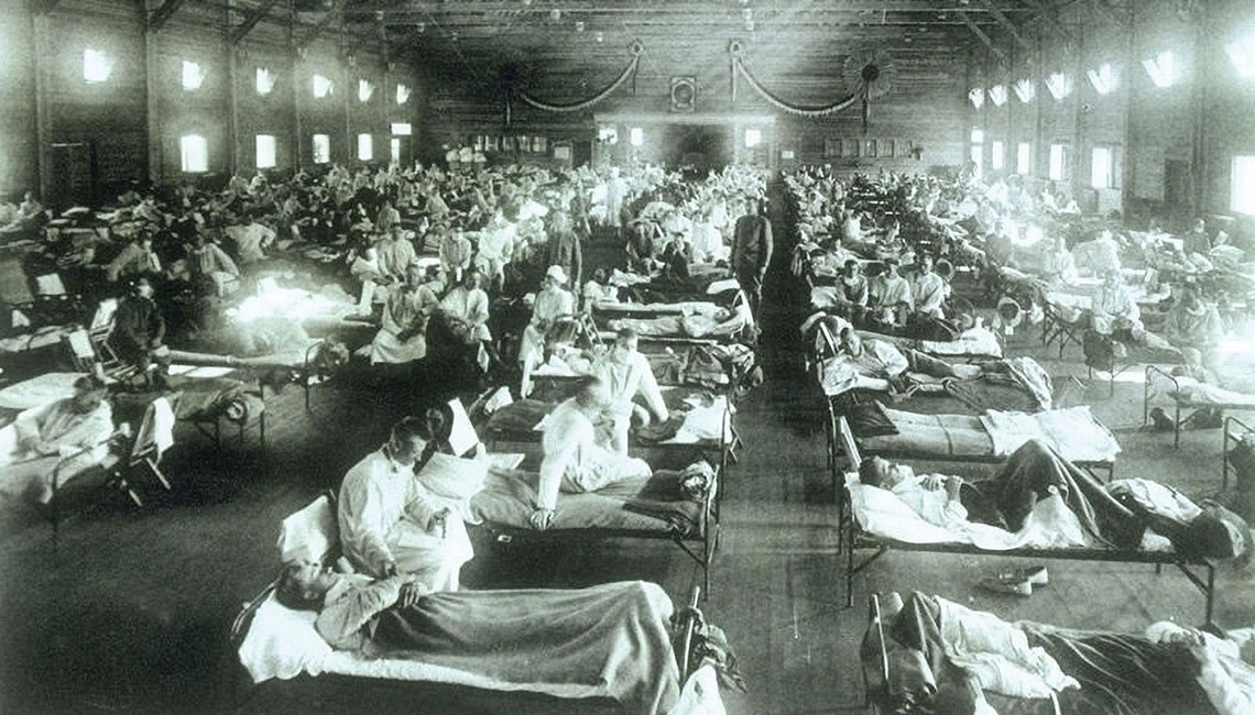 Soldiers from Fort Riley, Kansas, ill with the flu at a nearby camp in 1918.