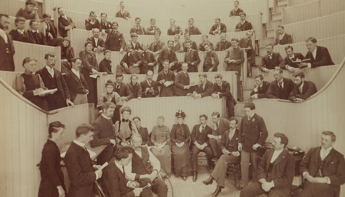 A co-ed, 1893 demonstration in nervous diseases class.