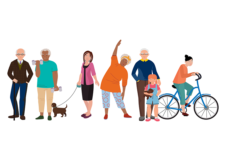 Illustration of people standing, walking a dog, lifting weights and biking