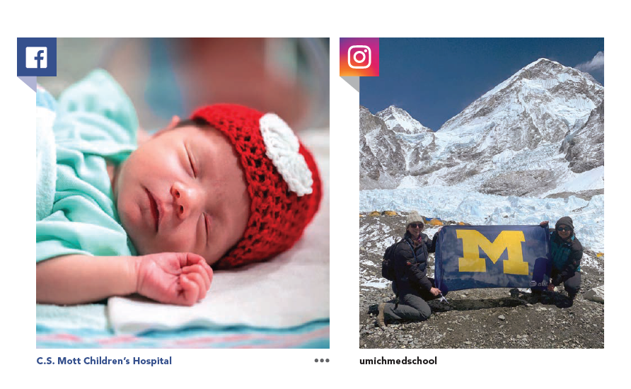 A Facebook post of NICU baby at C.S. Mott Children's Hospital and U-M students at Mt. Everest's Base Camp on instagram