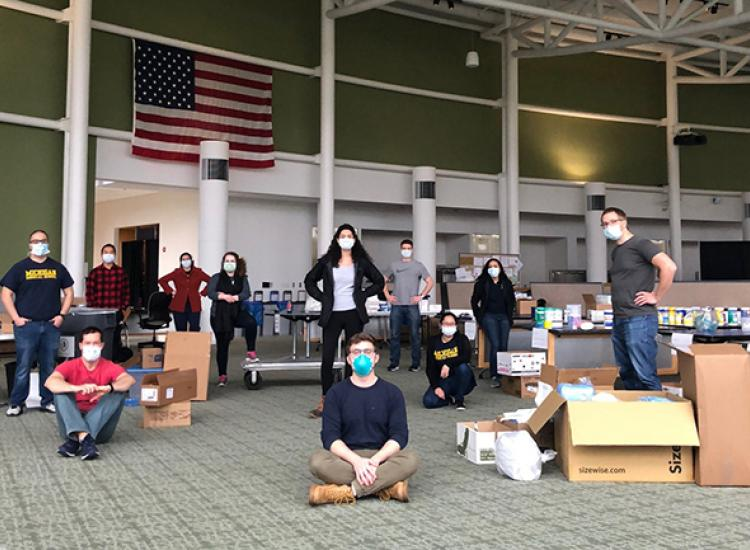 Students staff a donation center at the North Campus Research Complex.