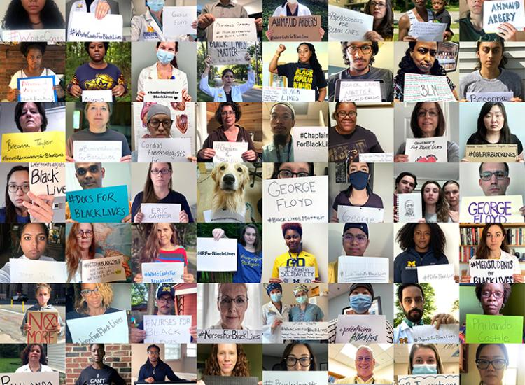 Protest self-portraits by Michigan Medicine faculty, staff, and learners who participated in the Black Medical Association's virtual protest.