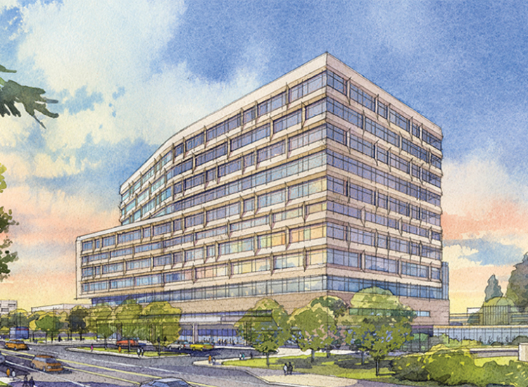 Architectural drawing of proposed new hospital
