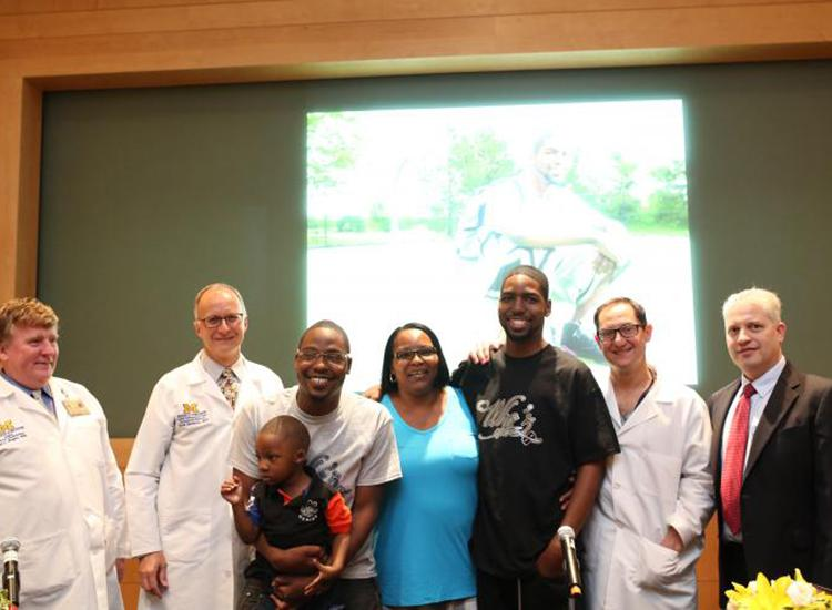 The Larkin family with U-M doctors