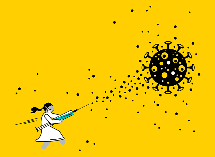 illustration of doctor blasting a virus with a syringe