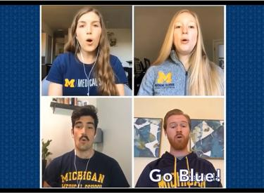 Suzie Shoffner, Chloe Ramirez Biermann, Ben Tooke, and Andrew Neevel in a virtual call