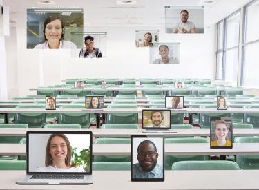 Classroom of online students